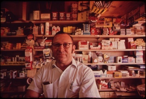 Norris Fisher, owner of local drug store in Leakey Tx. Photo by Marc St Gil November 1973