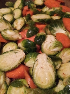 Fresh Brussels Sprouts and carrots