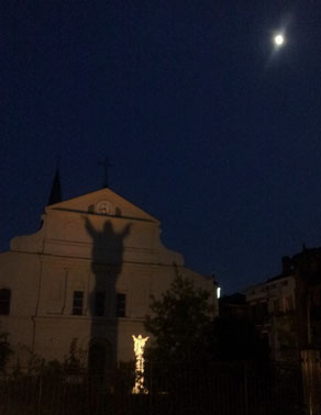 Walking into Jackson Square late at night.