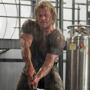 Chris Hemsworth as Thor - in the rain.