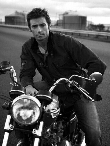 Hugh Jackman on a motorcycle, what more could a girl want?