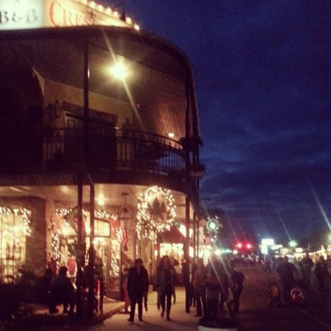 Early evening over Boerne Texas Main Street. during Dickens On Main