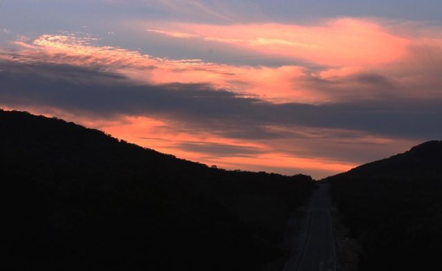 Sunset on the road to Leakey Texas