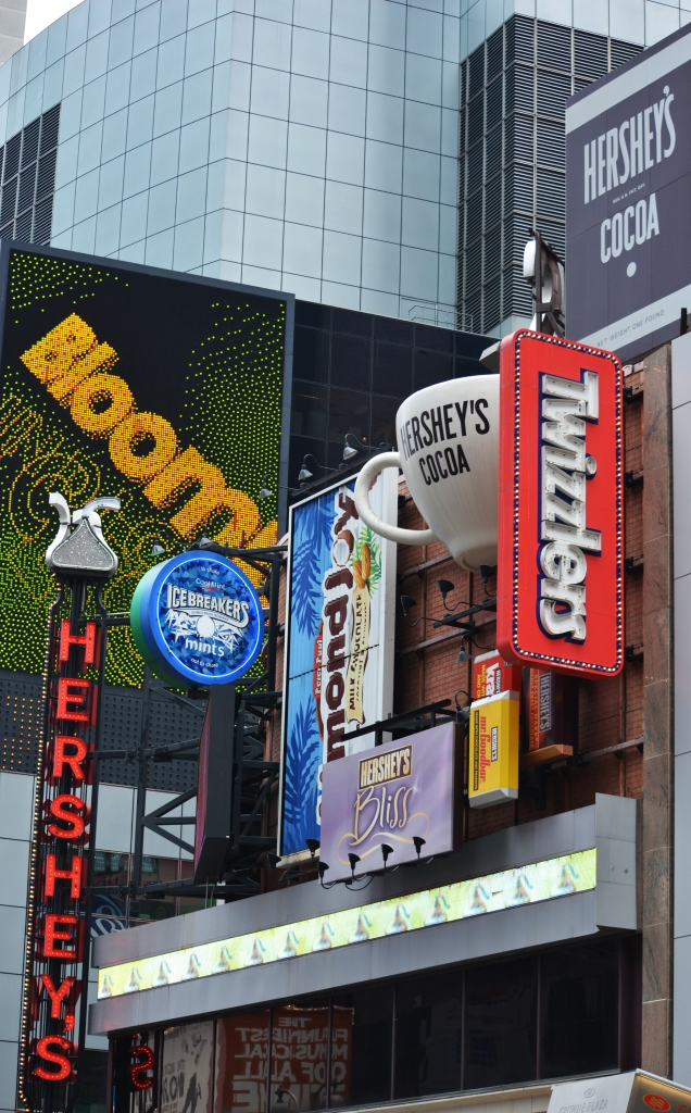 More chocolate than one person can handle at the Time Square Hershey Store in New York