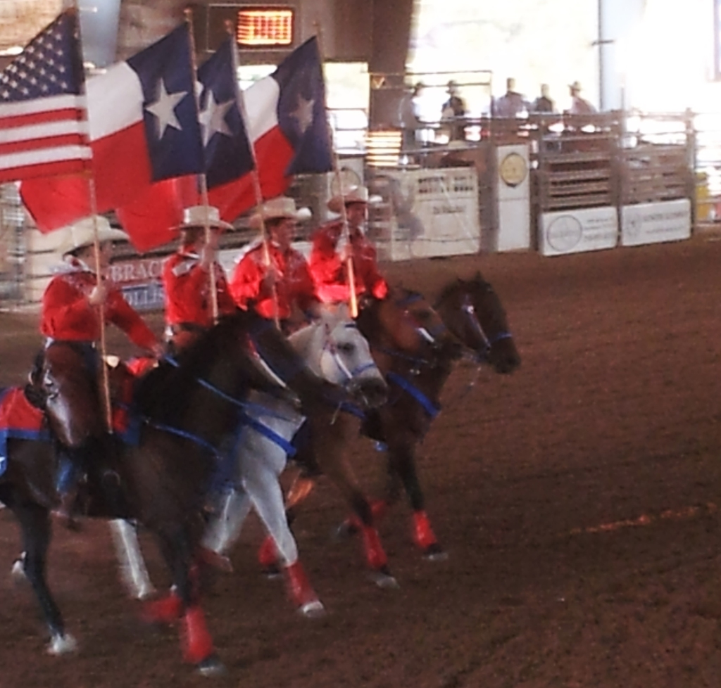 The running of the Flags at the Tejas rodeo in Belverde Texas. Jaken by Jolene Navarro