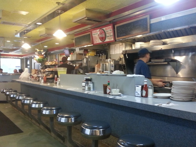 Wefoundthis gem of a family diner off Wall Street. Home cooked food with very good prices. The hamburger was 4.95.