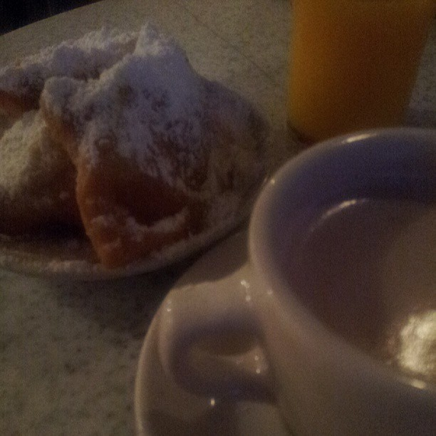 ANy one who has ever been to New Orleans will tell you to stop Cafe Du Monde, any time of day or night.