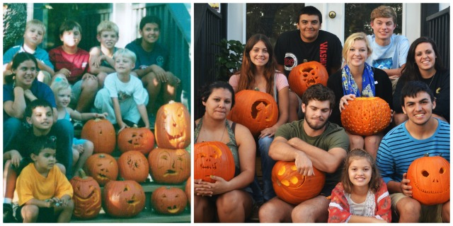 Twelve years of carving pumpkins -growing up on the steps