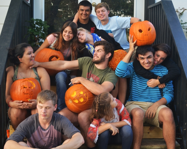 My parent had three girls who gave them ten  grand-kids - ten grand kids that love each other so much. Annual pumpkin carving slam down