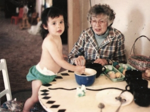 Great Grandma Olene Guinther and Katrina Decorating eggs in 1993