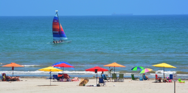 Ocean view at Port Aransas on the Texas shoreline. From the Sandcastle Condominiums