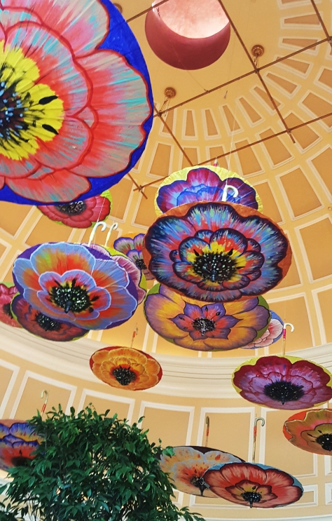 Painted umbrellas hanging in the Bellagio. photo by Jolene Navarro