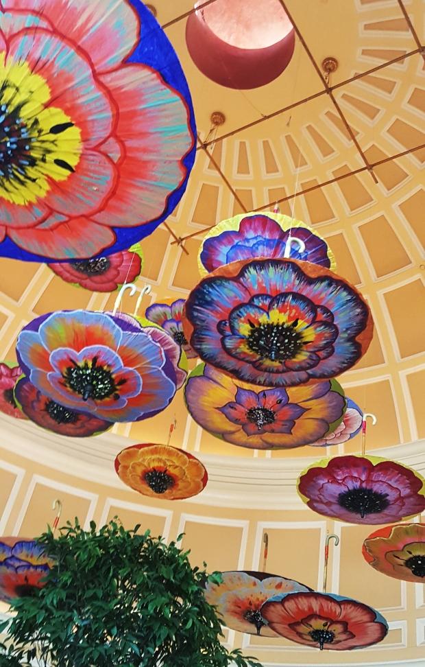 Painted umbrellas hanging in the Bellagio. photo by Jolene Navarro