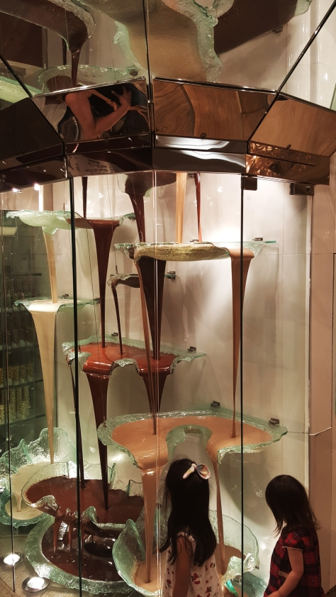In the Bellagio in Vegas I found the the tallest chocolate fountain I have ever seen. The little girls were impressed too.