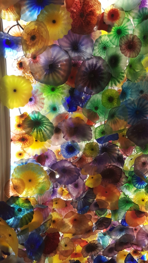 18 foot ceiling covered in the hand blown glass created by Dale Chihuly. Bellagio in Vegas