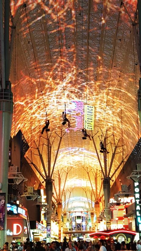 Fremont -Zip lining in Vegas under the largest digital screen in the world. photo Jolene Navarro