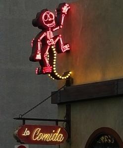 Little monkey skeleton on Fremont Street Las Vegas - photo Jolene Navarro