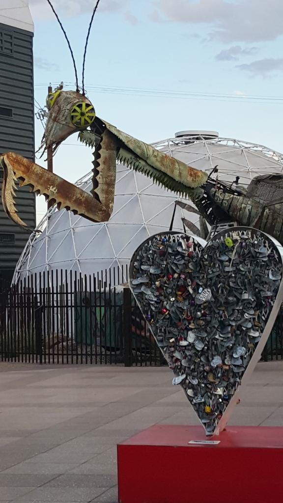 3-D Art on Fremont Street in Vegas. The Praying Mantis outside Container Park on Fremont St. photo by Jolene Navarro