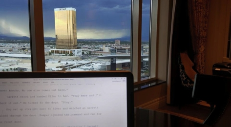 A Vegas view from the Palazzo of the mountains and TRUMP photo Jolene Navarro