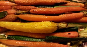 Carrots roasted with zucchini in a little Olive oil and garlic and herb mix from Mrs. Dash