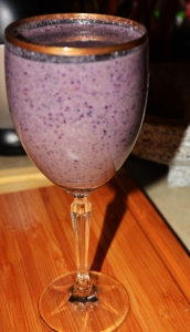 Smoothie with black & red grapes, kale, banana and unsweetened almond milk.